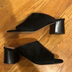Brand new black suede Halogen block heel mules